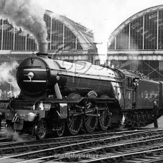 The Flying Scotsman pulls out of London 's King's Cross station to make the last steam-hauled non-stop run to Edinburgh 1 May 1968 vintage stills archive picture library stock photographic