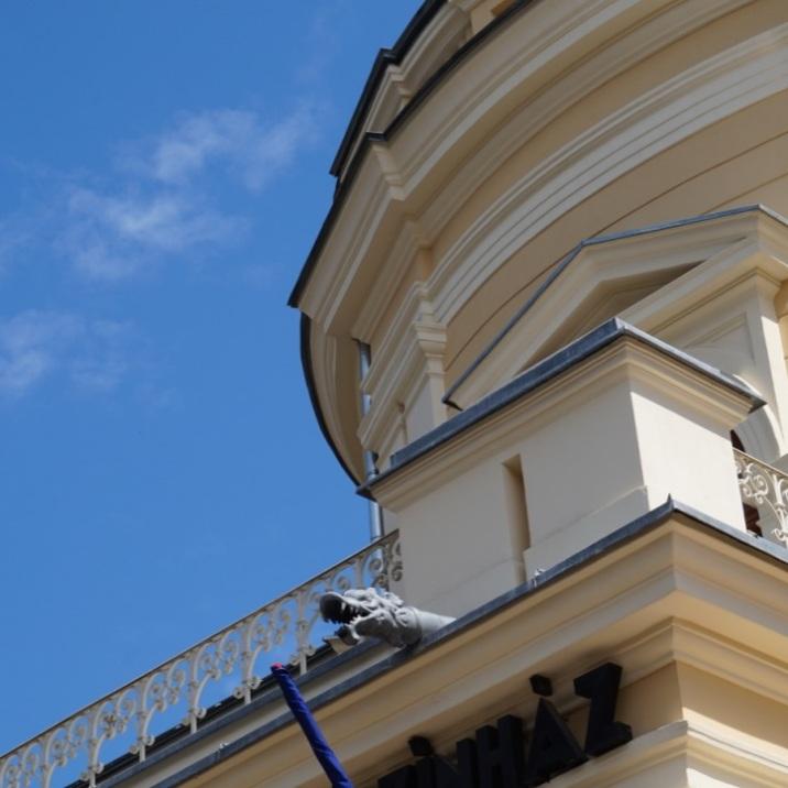Rain pipe as gargoyle in Satu Mare