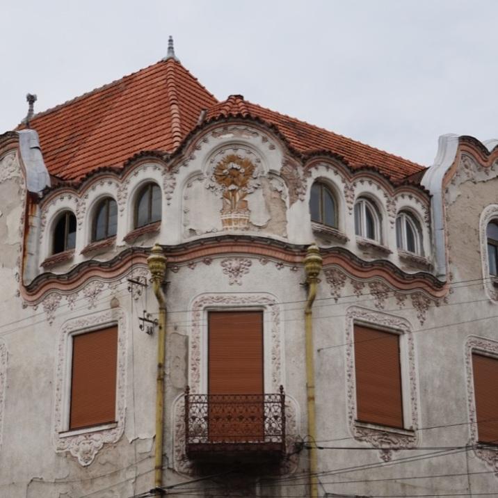 Rain pipes on Art Nouveau building-Oradea