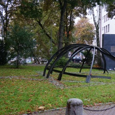 Memorial to the Great Synagogue of Bialystok and to the 2000 Jews murdered here in June 1941 when the Synagogue was destroyed