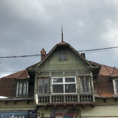 Attic and Balcony displaying carved wood in a Central European style (Hungarian Folk Motives)