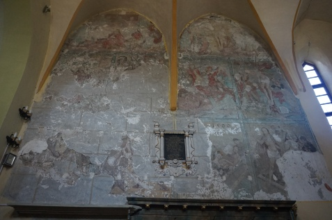 16th Century Fresco and Mid Eighteenth Century Tomb Stone in Baroque Style (in black in the middle of the fresco)