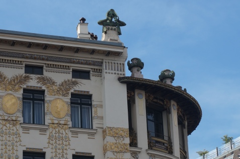 Detail Building on Linke Wienzeile no. 38, architect Otto Wagner and Facade Gold Decorations Koloman Moser