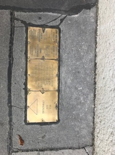 Memorial Plaque in the Pavement that commemorates the many Jewish families of Poland (Galicia) that came to Vienna to find a new home but they were deported to the death camps