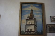 Representation of the Honigberg Church Steeple Featuring a Real Clock