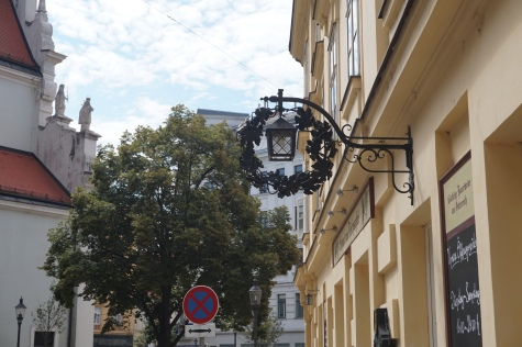 Street light of house on adjacent street to Karmeliterplatz