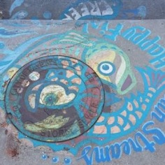 Art on the drainage system with the message: `Clean Streams, Happy Fish Creek`, street art, Fayetteville, Arkansas
