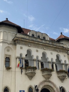 Detail of the Town Hall Building built in the years 1928-1934 by a local architect, Dumitru Ionescu- Berechet