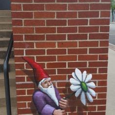 Dwarf and flower, street art, Fayetteville, Arkansas
