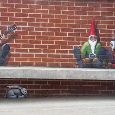 Dwarves representing symbols of the city, street art, Fayetteville, Arkansas
