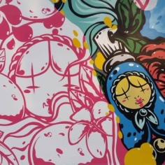 Matrioska, the Russian doll, as a symbol on the mural of the artist Tiger Sasha, Fayetteville, Arkansas