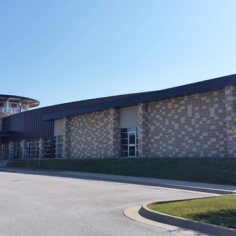 Modernist style of building that hosts a school, Fayetteville, Arkansas