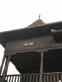 Pillars in vernacular style of house in Dragoslavele village