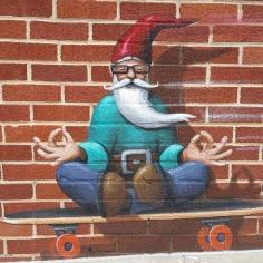 The meditating dwarf, street art, Fayetteville, Arkansas