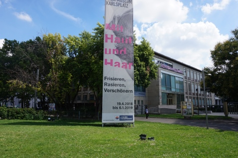 The poster of the exhibition in front of Wien Museum, Karlsplatz
