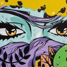 Tiger Sasha`s Mural, detail, Fayetteville, AR
