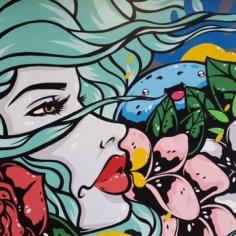 Tiger Sasha`s mural, detail, Fayetteville, Arkansas