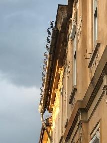 Decorated Rain Guter on facade of building in Sibiu, Romania