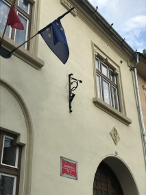 Flag Pole Holder on a building located on Mitropoliei Street, No. 21, Sibiu, Romania