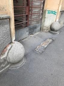 Good shape stone buffers at the entrance of house in Sibiu, Romania