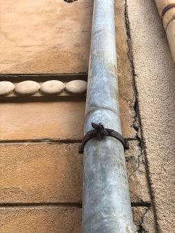 Metal decoration on rain gutter of building in Sibiu, Romania