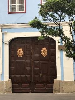 Metal work on door of house in Sibiu, Romania