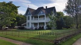 Art Deco Chimney and Bird Weather Vane on House on Washington WIllow, Fayetteville, NW Arkansas