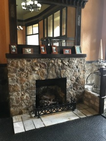 Basin Park Hotel, Eureka Springs, Fireplace at the ground floor; on the right side, notice another time capsule