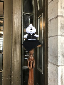 Crescent Hotel entrance, a ghost is welcoming the guests as an allusion that the hotel is haunted