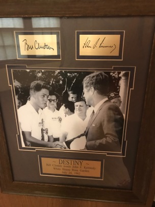 Many photos in the Clinton House, but this stands out: Bill Clinton as a teenager meeting J.F.Kennedy in July 1963