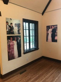 Photos of Hillary Rodham and Bill Clinton`s marriage, in the main room of the manor