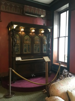 Seeburg Style `H` Orchestrion prroduced in US sometimes between 1911-1920; it has two statues, `Strength` and `Beauty`, four large art glass panels, three hanging art glass lamps; 25 originals may still exists throught US