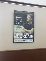Autograph of Anthony Bourdain to the Fayetteville Library