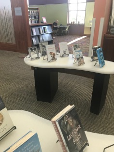 Books about dogs displayed in the public area of the second floor