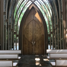 Inside view of the door, Mildred B. Cooper Memorial Chapel