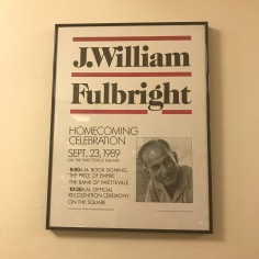 J.W.Fulbright, Homecoming Poster with the occasion of 50 years celebration since Fulbright was President of Arkansas University, 1939-1941