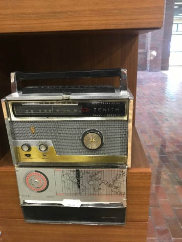 Old Zenith Radio equipment on display in the public area, Pryor Center