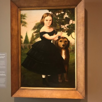 Susan Catherine Waters, Portrait of a Girl and Her Dog in a Grape Arbor (1855-1860)