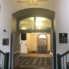 Walter L. Brown Foyer, named after the distinguished History professor of Arkansas University who was also the editor of the Arkansas Historical Quarterly in the years 1959-1990