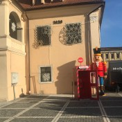 Santa`s Phone Box and a Nutcracker by the old Town Hall of Brașov
