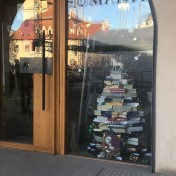 Tree made of books in the window of Humanitas book shop in the Town Square